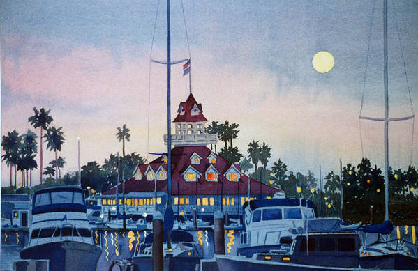 Boat Print featuring the painting Moon Over Coronado Boathouse by Mary Helmreich