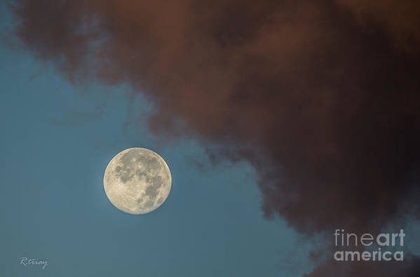 Moon Print featuring the photograph Moon Transition From Night To Day by Rene Triay Photography