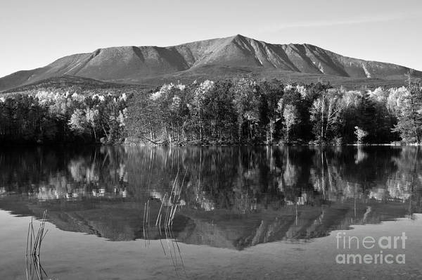 Mt. Katahdin Art Print featuring the photograph Mt Katahdin Black And White by Glenn Gordon