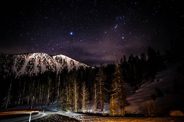 Astrophotography Print featuring the photograph Mt. Rose Highway And Ski Resort At Night by Scott McGuire