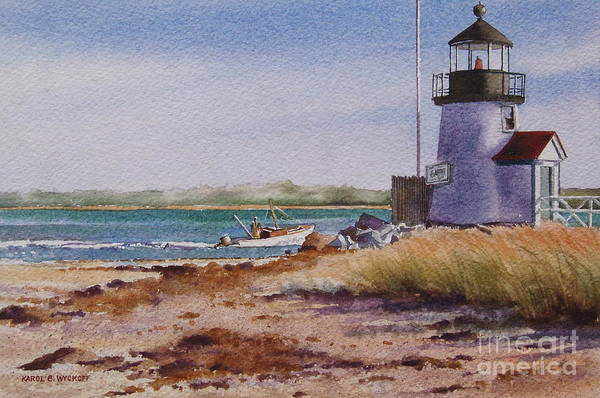 Lighthouse Art Print featuring the painting Nantucket Winter Light by Karol Wyckoff