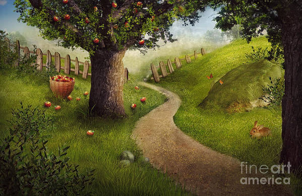 Autumn Art Print featuring the digital art Nature Design - Apple Orchard by Mythja Photography