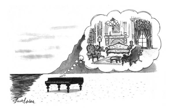 (the Piano On A Desolate Beach Wishing It Was In A Nice Parlor.)  No Caption Piano On Beach Has Mental Image Of Comfortable Victorian Parlor. Refers To Jane Campion's Film  Art Print featuring the drawing New Yorker January 24th, 1994 by Mort Gerberg