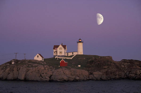 Moon Art Print featuring the photograph Nubble Light by Christian Heeb