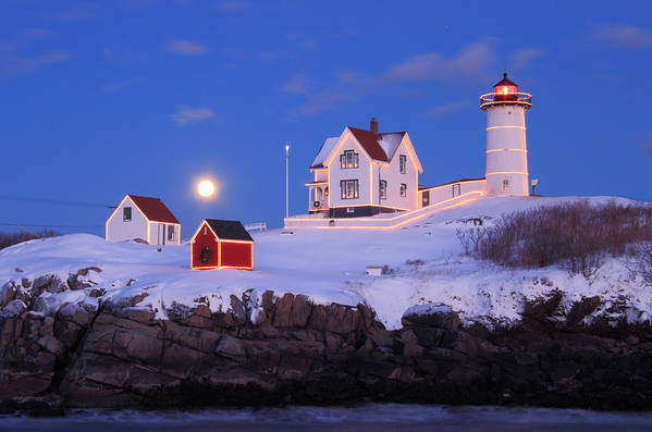 Lighthouse Print featuring the photograph Nubble Lighthouse Winter Moon by John Burk