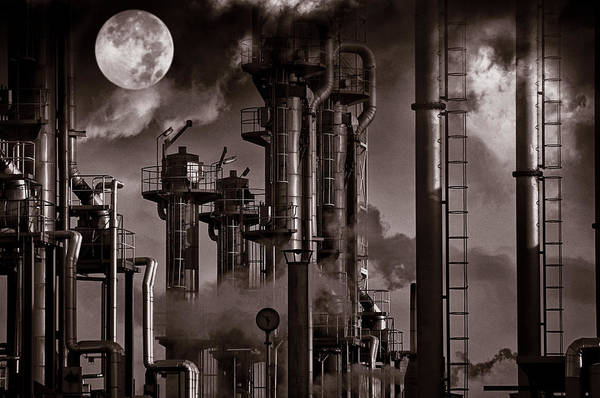 Fuel Art Print featuring the photograph Oil Refinery With A Surreal Moonlight by Christian Lagereek