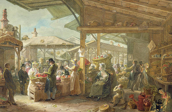 London Print featuring the painting Old Covent Garden Market by George the Elder Scharf