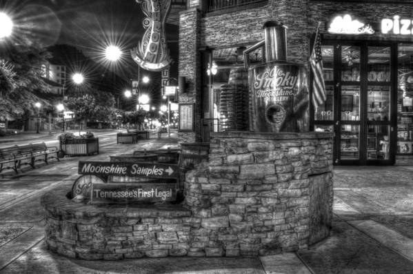 Old Smoky Tennessee Moonshine Distillery Art Print featuring the photograph Ole Smoky Tennessee Moonshine In Black And White by Greg and Chrystal Mimbs