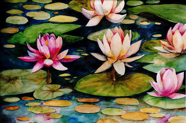 Lily Art Print featuring the painting On Lily Pond by Jun Jamosmos