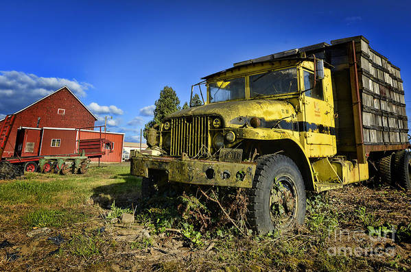 Old Yellow Truck Photographs Art Print featuring the photograph Oregon Yellow Truck by Benny Ventura