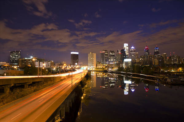 Philadelphia Art Print featuring the photograph Philadelphia Cityscape From South Street At Night by Bill Cannon