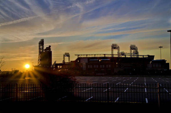 Phillies Print featuring the photograph Phillies Citizens Bank Park At Dawn by Bill Cannon