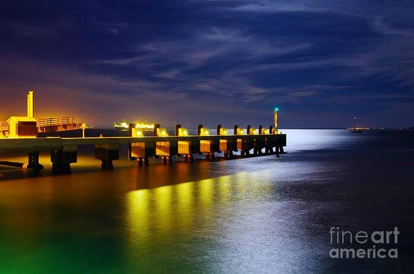 Atmosphere Print featuring the photograph Pier At Night by Carlos Caetano