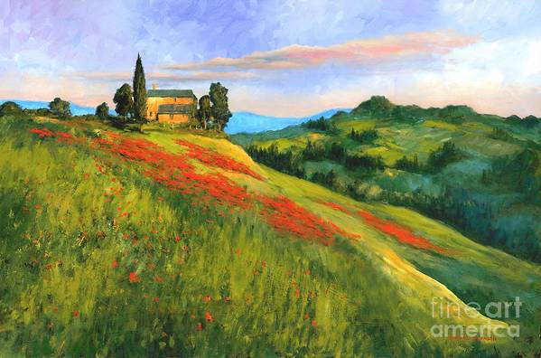 Tuscany Landscape Art Print featuring the painting Poppy Hill by Michael Swanson