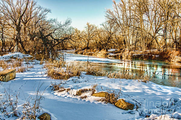 Ice Falls Art Print featuring the photograph Poudre Dusk by Baywest Imaging