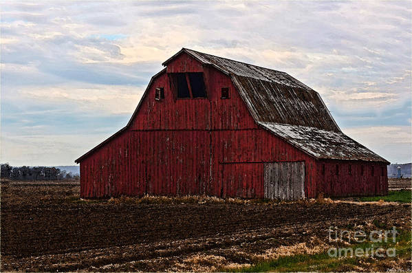 Arcitecture Art Print featuring the pyrography Red Barn Photoart by Debbie Portwood