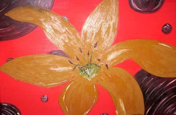 Gold Art Print featuring the painting Retro Flower by Becca Haney