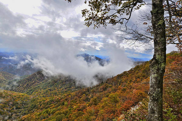 Mountains; Parkway; Autumn; Places; Clouds; America; Driving; Attraction; Travel; Ranges; Distant; View; Mist; Foggy; Usa; Leaves; Seasonal; Beautiful Scenic; Highway; Lookout; Landscape; Outdoors; Season; Visit; Bright; Tourist; Colorful; Colors; Fall Art Print featuring the photograph Ring Around The Mountain by Susan Leggett