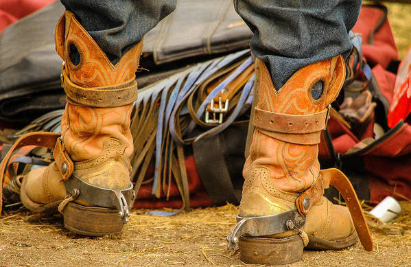 Boot Art Print featuring the photograph Rodeo Cowboy Tools Of The Trade by Miki Finn