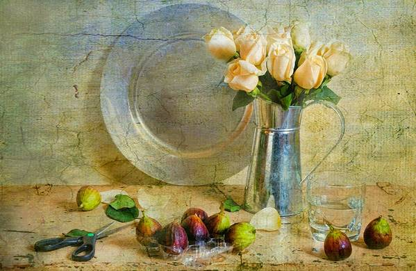 Still Life Print featuring the photograph Roses With Figs by Diana Angstadt