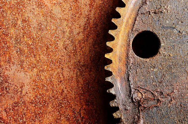 Metal Art Print featuring the photograph Rusted Gear by Jim Hughes