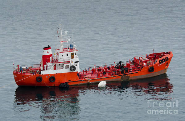 Sacro Cuor 1 Art Print featuring the photograph Sacro Cuor 1 Bunkering Oil Tanker Valetta Malta by Andy Smy