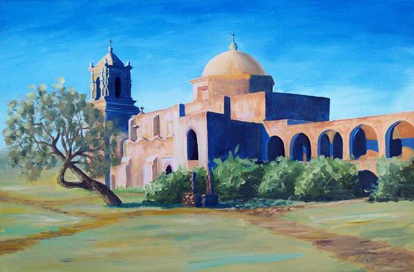 Landscape Art Print featuring the painting San Antonio Mission by Scott Alcorn
