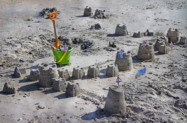 Sandcastle Art Print featuring the digital art Sandcastle Squatters by Betsy Knapp