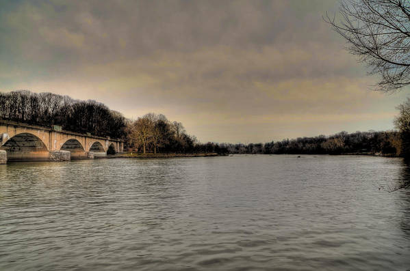 Schuylkil Art Print featuring the photograph Schuylkill River On A Cloudy Day by Bill Cannon