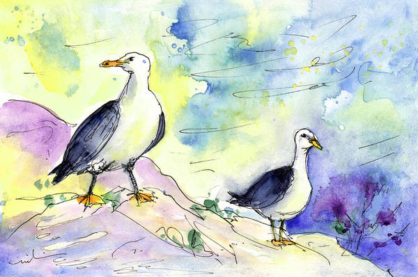Travel Art Print featuring the painting Seagulls In Calpe In Spain by Miki De Goodaboom