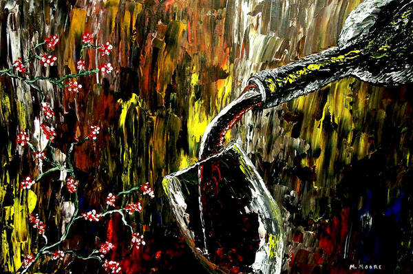 Wine Art Print featuring the painting Sensual Moments by Mark Moore