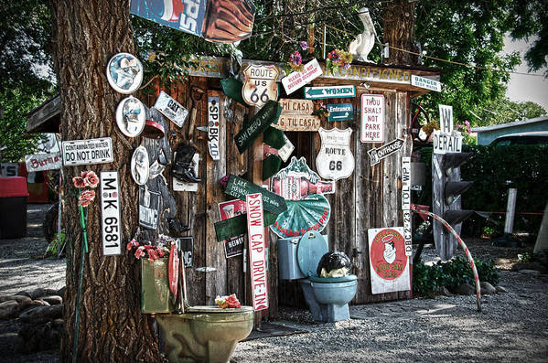 Shed Art Print featuring the photograph Shed Toilet Bowls And Plaques In Seligman by RicardMN Photography