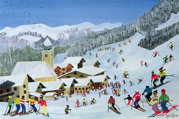 Snow; Skiing; Mountain Art Print featuring the painting Ski Whizzz by Judy Joel