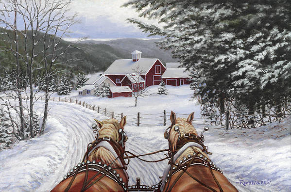 Horses Art Print featuring the painting Sleigh Bells by Richard De Wolfe