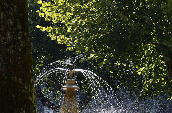 Color Art Print featuring the photograph Splashing Water From Fountain by Sami Sarkis
