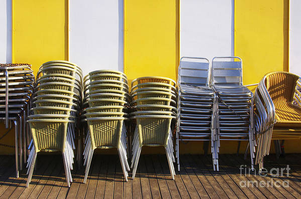 Aluminum Art Print featuring the photograph Stacks Of Chairs And Tables by Carlos Caetano