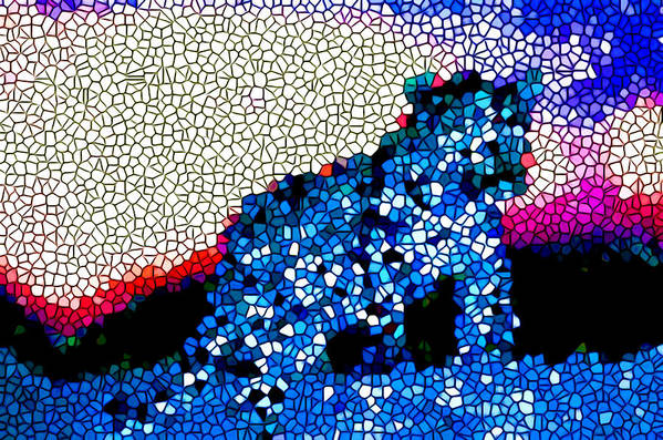 Stained Glass Leopard Art Print featuring the painting Stained Glass Leopard 1 by Jeelan Clark