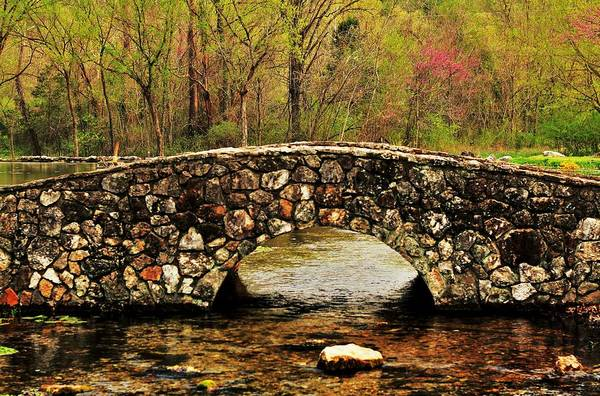 Arkansas Print featuring the photograph Stone Bridge In The Ozarks by Benjamin Yeager
