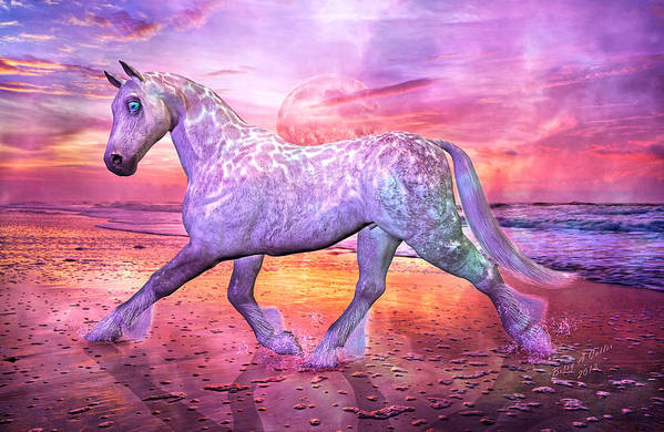 Horse Art Print featuring the mixed media Strolling In Paradise by Betsy Knapp