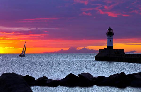 Sunrise lake Superior Sailing canal Park Lighthouse Duluth north Shore canal Park Lighthouse sail Boat Dawn Morning Magic Wow! Print featuring the photograph Sunrise Sailing by Mary Amerman
