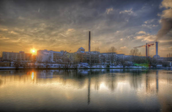 Ancient Art Print featuring the digital art Sunset On The Esifabrik by Nathan Wright