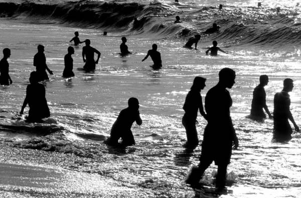 Silhouette Print featuring the photograph Surf Swimmers by Sean Davey