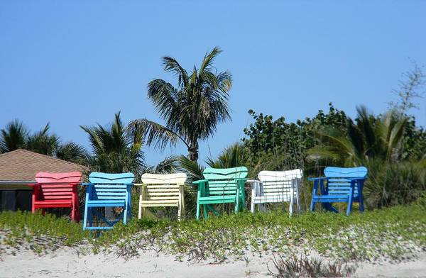 Chairs Art Print featuring the photograph Take A Seat At The Beach by Leslie McRae-Matthews