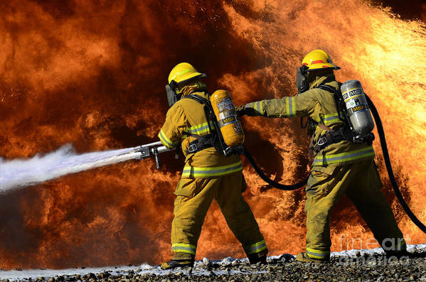 Firefighters Art Print featuring the photograph Taking A Stand by Bob Christopher