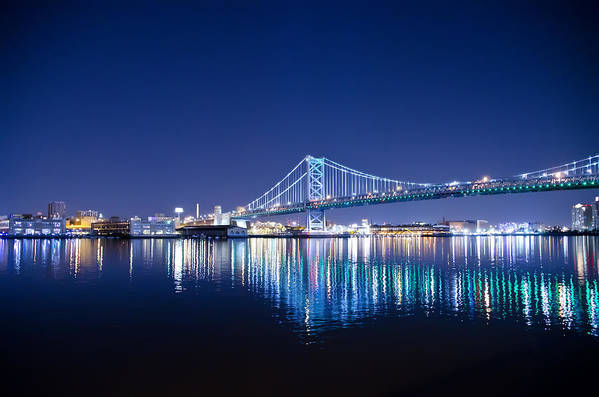 Benjamin Print featuring the photograph The Benjamin Franklin Bridge At Night by Bill Cannon