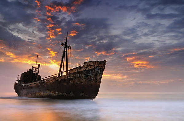 Shipwreck Art Print featuring the photograph The Dark Traveler II by Mary Kay