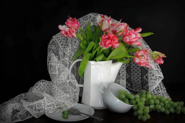 Still Life Art Print featuring the photograph The Lace Veil by Diana Angstadt