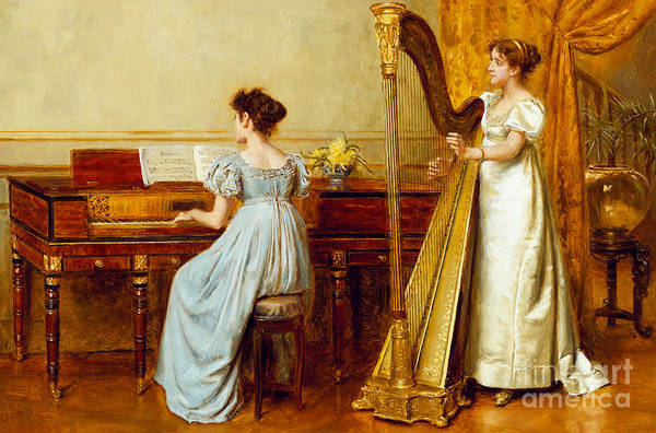 Music; Room; Interior; Female; Musician; Musicians; 19th; 20th; Harp; Harpist; Piano; Pianist; Musical Instrument; Instruments; Recital; Playing; Performing Art Print featuring the painting The Music Room by George Goodwin Kilburne