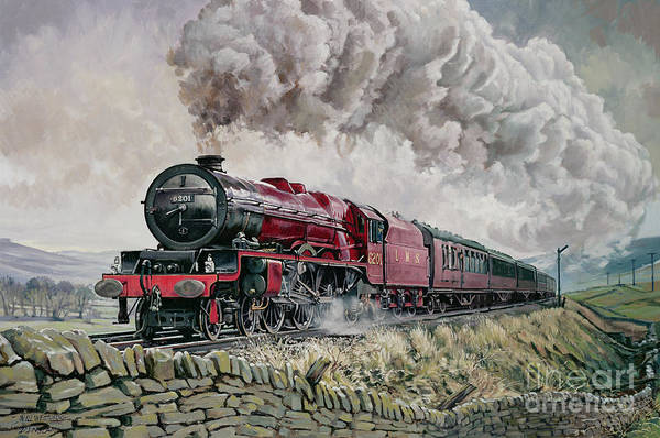 Train Print featuring the painting The Princess Elizabeth Storms North In All Weathers by David Nolan