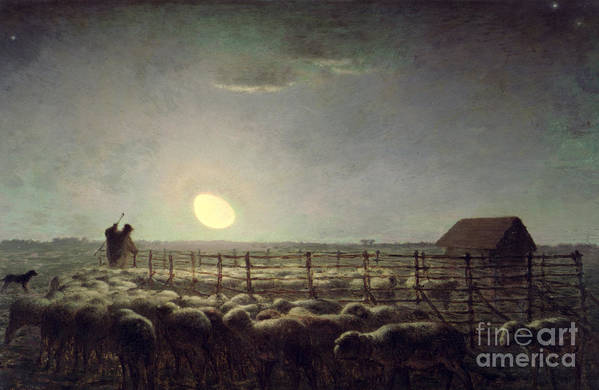 The Sheepfold Art Print featuring the painting The Sheepfold  Moonlight by Jean Francois Millet